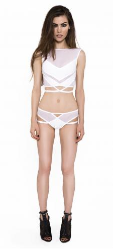 Caged White Crop Top