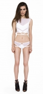 Caged White Leg Strap Brief