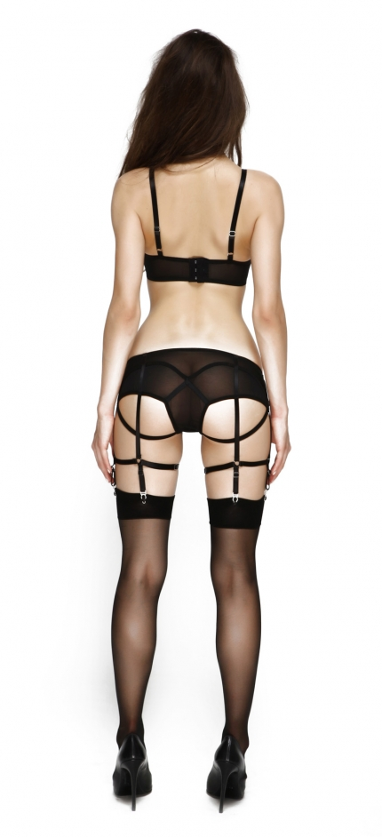 Prey Black Full Suspender Knicker